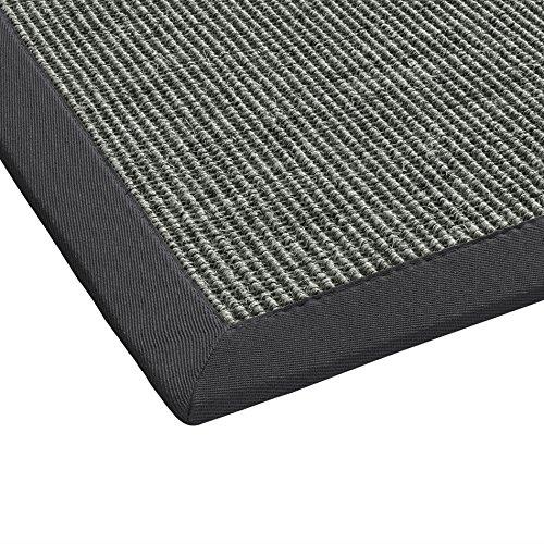 BODENMEISTER Sisal-Teppich modern hochwertige Bordüre Flachgewebe, verschiedene Farben und Größen, Variante: anthrazit dunkel-grau, 80x150