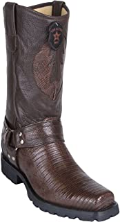 Original Brown Lizard Teju Leather Biker Toe Boot