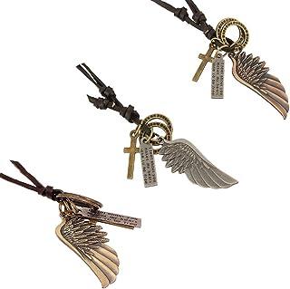 CAILI 3 pcs Collar para hombre, Collar de Cuero con Alas de ángel, Collar de Cuero Tejido Vintage Ajustable, También Adecu...