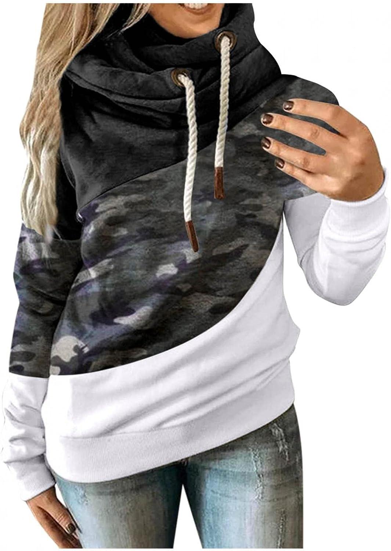 POLLYANNA KEONG Womens Hoodies Plus Size Color Block Long Sleeve Sweatshirts Casual Drawtsring Pullover Tops Blouse