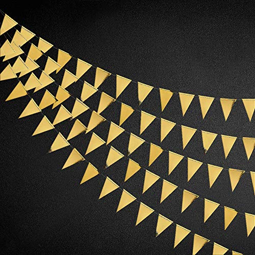 40 Ft Gold Triangle Flags Banner Double Sided Metallic Paper Pennant Bunting Garland for Wedding Baby Bridal Shower Birthday Bachelorette Engagement Anniversary Hen Party Decoration Supplies