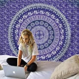 KHKJ Tapiz de Mandala Blanco Hippie Colgante de Pared Colcha Bohemia Funda de sofá decoración Mandala DIY hogar A10 150x130cm