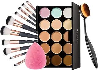 Anself Paleta de Correctores de 15 Colores 10 Pcs Brochas de Maquillaje Set con Un Pincel de Maquillaje y Una Esponja Ovalada