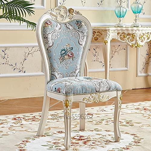 HUAHUA Esszimmerstuhl. Europäischer Stil Esszimmerstuhl Home Modern Minimalistische Freizeitstuhl Französisch Schreibtisch Stuhl Verhandlungsstuhl Stoff Weiß Solide (Color : Old farmer 10)
