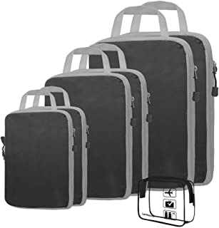 6+1 Set Compression Packing Cubes Extensible Storage Various Sizes Travel Luggage Bags Organizers (L+M+S+XS Black)