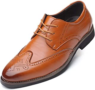 HUAHs0 Brogue Carving Oxfords for Men Business Shoes Lace up Microfiber Leather Rubber Sole Pointed Toe Stitch Anti-skid Burnished Style` (Color : Yellow, Size : 47 EU)