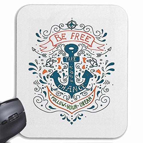 Reifen-Markt Mousepad (Mauspad) BE Free SEEMANN Tattoo MIT Anker KAPITÄN MATROSE SEEFAHRER für ihren Laptop, Notebook oder Internet PC (mit Windows Linux usw.) in Weiß