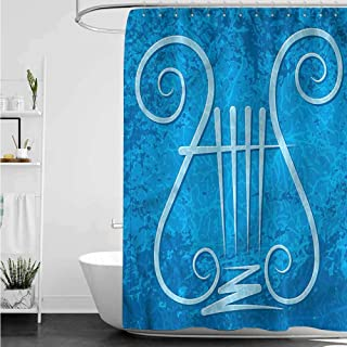 homecoco Shower Curtains Liner with Magnets Lyre,Four-Stringed Ancient Greek W36 x L72,Shower Curtain for clawfoot tub