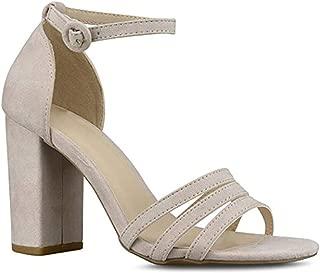 Premier Standard Women's Ankle Strap High Chunky Heel - Open Toe Sandal Pump - Formal Party Chunky Dress Heel
