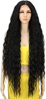 Lusohe Hair Synthetic Wigs For Black Women Long Curly Hair 42 Inch Blonde Lace Front Wig Synthetic Lace Front Wig #1B 42Inches