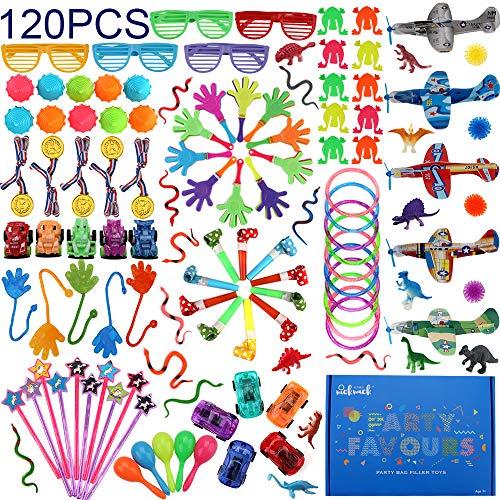 nicknack Party Gefälligkeiten für Kinder, 120 Stück Karneval Preise Spielzeug Bulk, Pinata Füller Spielzeug Sortiment für Jungen Mädchen Geburtstagsfeier Geschenk Klassenzimmer Schatzkiste
