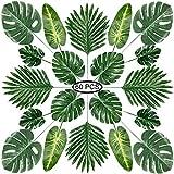 PietyPet Hojas de Palma Artificiales, 60 Piezas 5 Tipos Verde Plantas Artificiales, Falso Hojas de Monstera con Tallos para Luau, Fiestas Decoraciones Eventos, Bodas, Hawaiano