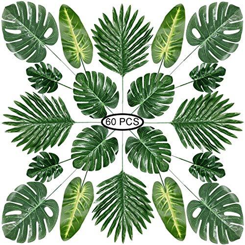 PietyPet 60 Stück 5 Arten künstliche Palmenblätter mit Stielen, Tropische Pflanze Palm Blätter Monsterablätter, Plastikpalmenblätter für Hawaiische Luau Dschungel Strand Thema Tischdekoration