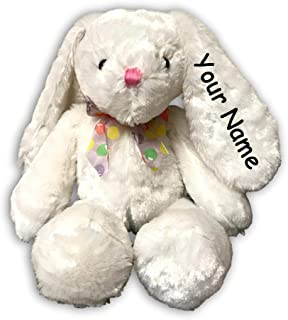 Personalized Isabelle Sitting White Easter Bunny with Colorful Jelly Bean Bow for Boys or Girls Plush Stuffed Animal Toy with Custom Name - 18 Inches