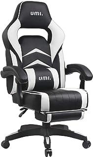 Amazon Brand - Umi Chaise Gaming de Bureau Fauteuil Gamer en Cuir PU Conception Ergonomique avec Repose-Pieds Télescopique...