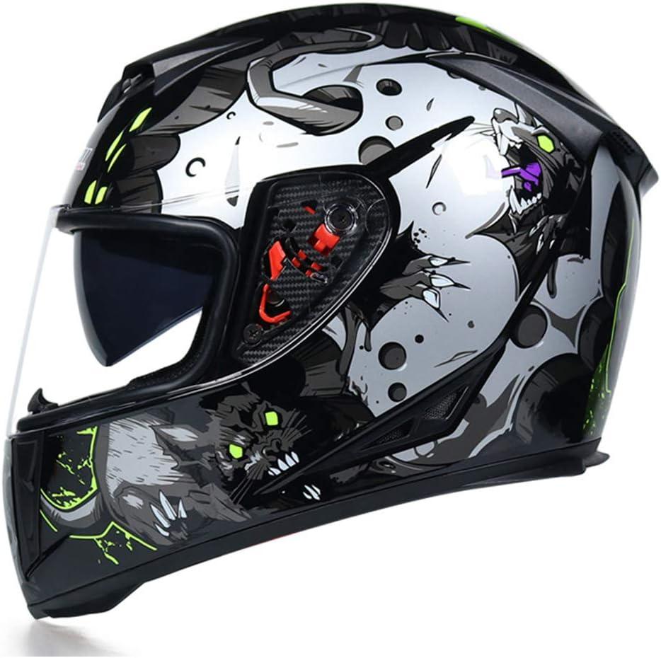 Casco integral Moto con doble lente Casco de carreras de lanzamiento r/ápido con estilo Casco Moto Cascos de moto Cara completa para hombre