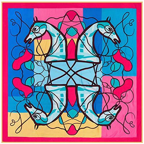 DFHTR 130 * 130 Cm Látigo Patrón De Cabeza De Caballo Impresión De Sarga De Mujer Bufanda Cuadrada Bufanda De Seda Chal Toalla De Protección Solar Al Aire Libre