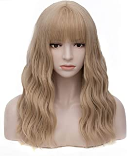 Women's Ash Blonde Wavy Wig with Bangs Middle Length Synthetic Wigs for Daily Use or Costume