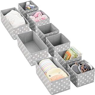 mDesign Soft Fabric Dresser Drawer and Closet Storage Organizer for Kids/Toddler Room, Nursery, Playroom, Bedroom - Polka ...