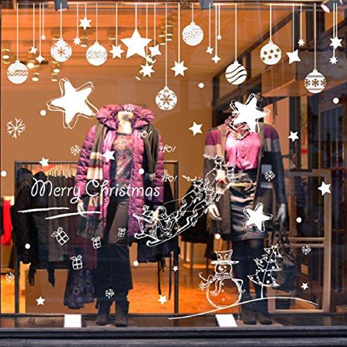 Vovotrade ❉❉❉Autocollant Mural amovible Joyeux Noël Decal murale Accueil Fenêtre Xmas Decor (C)