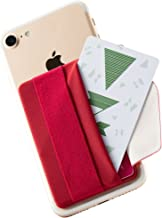 Sinjimoru Phone Grip Card Holder with Flap, Credit Card Stick-On Wallet Functioning as Phone Holder, Safety Finger Strap for iPhone and Android Sinji Pouch B-Flap, Red