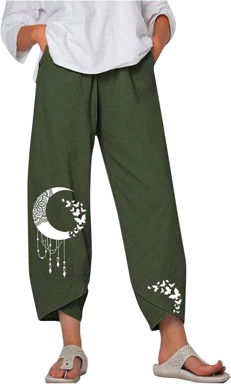LIUguoo Summer Pants for Women Casual Cotton Linen Wide Leg Drawstring Elastic Waist Capris Crop Pants with Pockets