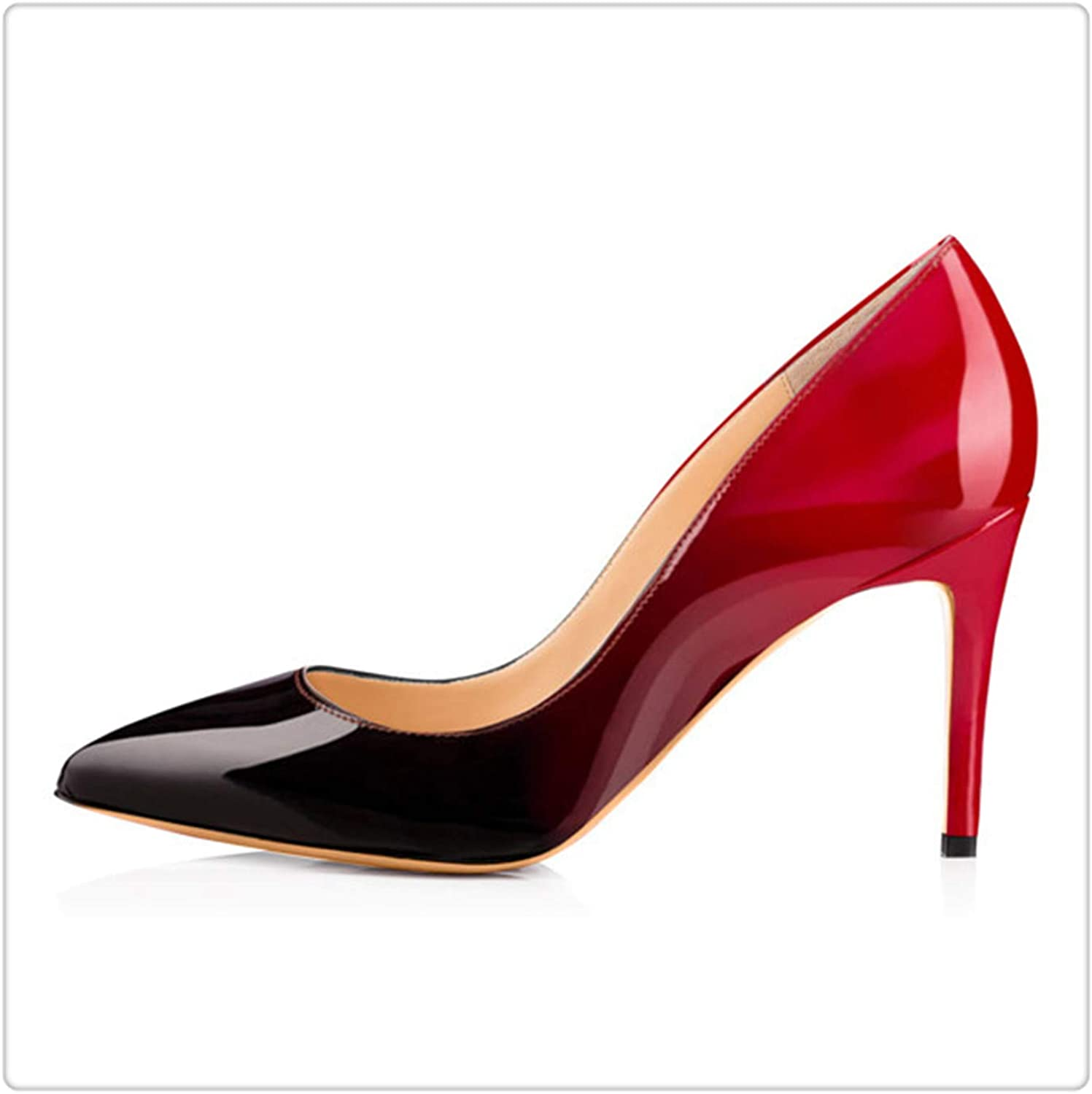 KKEPO& 3.5 Inches 8.5cm Thin High Heel Women's Pumps shoes Sexy Pointed Toe Wedding shoes Party Pumps Patent Leather shoes H170127 9