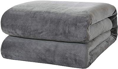 "BOURINA Flannel Blanket Throw Lightweight Cozy Plush Microfiber Solid Fleece Blanket,Throw 50""x60"" Grey"