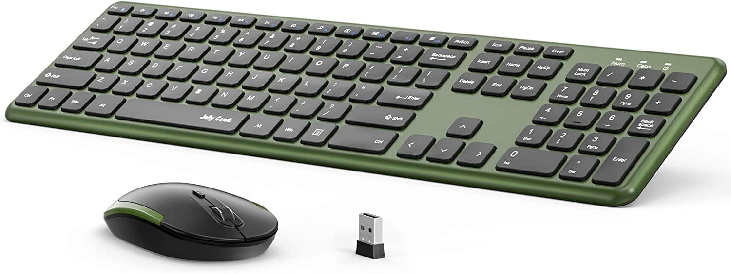 Wireless Keyboard and Mouse , 2.4GHz Full Size Wireless Keyboard and Mouse Ultra-Thin Keyboard Mouse for Computer, Laptop, PC, Desktop, Windows 7, 8, 10 (Black and Green)