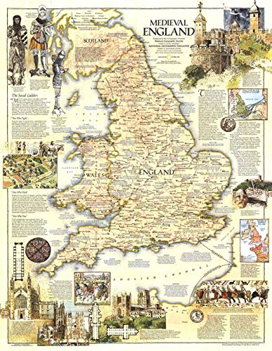 National Geographic: Mapa de pared medieval de Inglaterra – 22.75 x 29.25 pulgadas – Papel enrollado