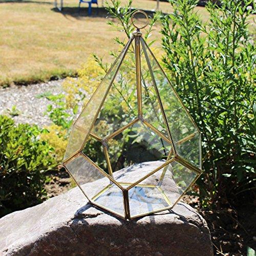 Mitienda Geometrische terrarium deco van glas voor vetplanten | decoratieve terrarium Penta | vensterbank decoratie goud