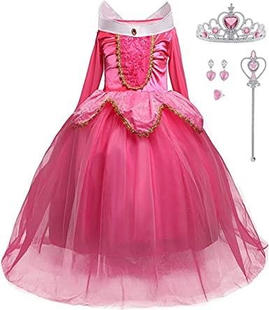 iTVTi Girls Princess Dress Up Halloween Party Costume with Crown Wand Earrings Ring Pink
