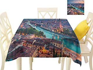 Davishouse Elegant Waterproof Spillproof Polyester Fabric Table Cover Verona Italy Blue Hour Great for Buffet Table W70 x L70