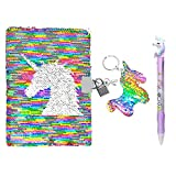 QearFun Unicorn Sequin Journal Mermaid Sequin Notebook with Ballpoint Pen Reversible Sequin Journal Flip Sequin Notebook for Kids Girls Diary Unicorn Journal Gifts (muliticolored with Lock)