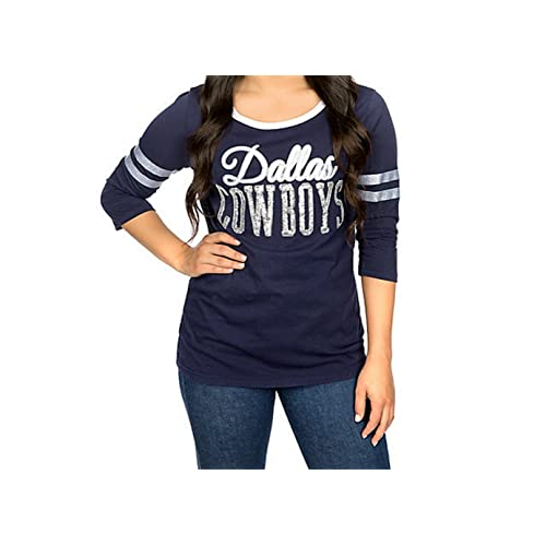 Dallas Cowboys Women s Edna Sequin 3 4 Sleeve T-shirt 343ee86bc