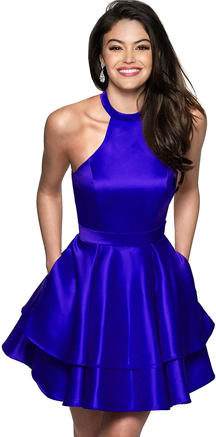 Sulidi Women's Short Halter Homecoming Dresses Backless Prom Party Dress for Juniors 2018 C004