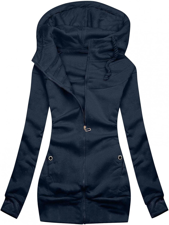 FABIURT Zip Up Sweatshirt for Women,Women's Solid Color Hoodie Long Sleeve Hooded Sweatshirts Jacket Coat with Pockets