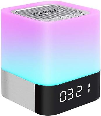 Lámpara de noche con control táctil con altavoz Bluetooth inalámbrico, regulable, luz blanca cálida, lámpara de mesa y RGB LED cambiante de color, mejor regalo para mujeres, hombres, adolescentes, niños y noche