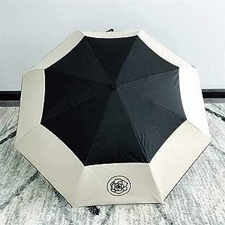 AUWANGAOFEI Camellia Automatic Simple Small Fresh Black Plastic Sunscreen Anti-UV Three Folding Rain Dual-use Umbrella (Color : Black and White)