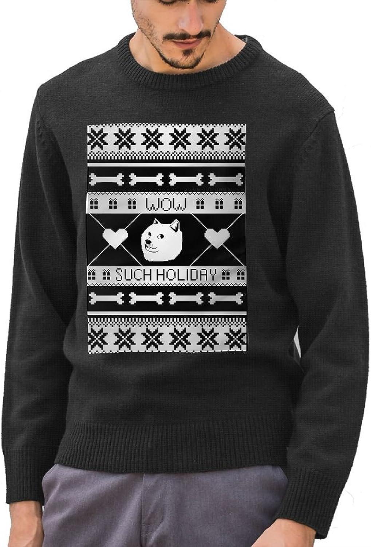 GOKIEOCE Men's Christmas Doge Cotton Crewneck Sweater Long Sleeve Knit Sweatshirt
