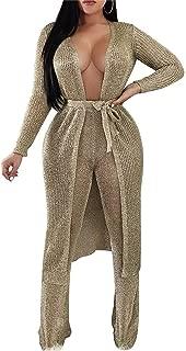 QIYUN.Z Women's Rose Gold Knit Jacket Sexy Cutout Cardigan Long Jacket