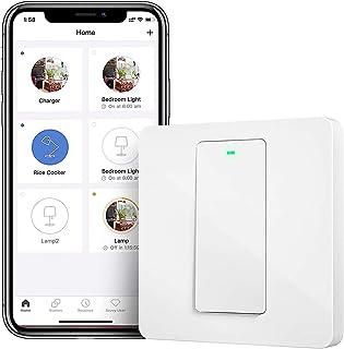 Smart lichtschakelaar Meross wifi-wandschakelaar, 1 versnelling vereist nulgeleider, fysieke toetsschakelaar, compatibel m...