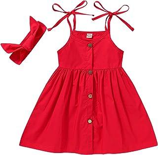 Happy Town 1-6 Years Toddler Baby Girls Summer Button Strap Dress Princess Sundress