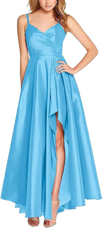 Liangjinsmkj VNeck Hilo Prom Dresses for Women Long Straps Satin Backless Evening Gowns with Slit