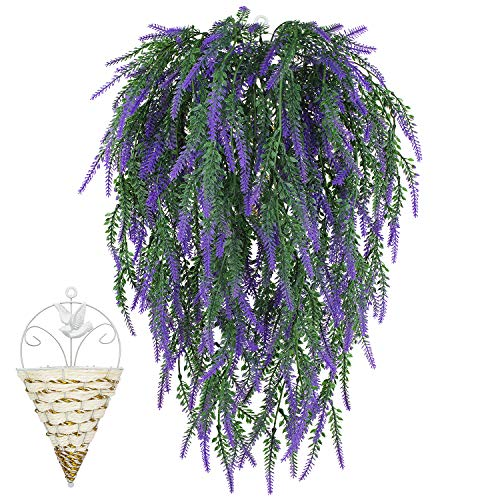 COOWAS 6pcs 2.62 Feet Artificial Hanging Plants Flowers Fake Lavender Bouquet for Wedding Party Outdoor Garden Office Home Kitchen Bedroom Wall Decor (Basket Includes) Purple