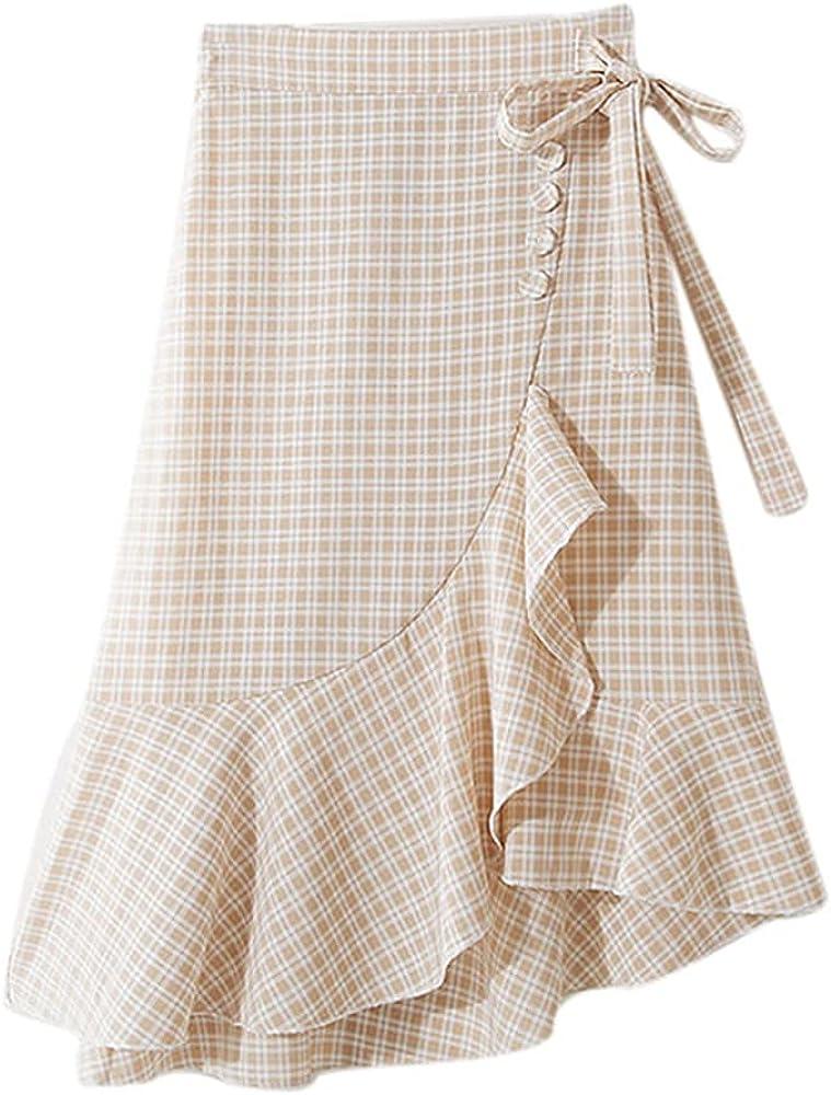 NP Women's Elastic Waist Mid-Length Asymmetric Ruffles Skirt
