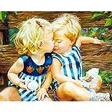 CGZLNL Pintar por Numeros para Adultos Niño Helado Kit de Pintura al óleo de Lienzo DIY, Pintura por Números con Pinceles y Pigmento Acrílico 40x50 cm Sin Marco