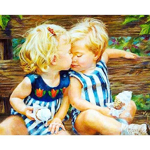 Pintura por números, Kits de Pintar acrílica DIY para Adultos Niños Principiantes Intimidad infantil regalo para amigo, festival, hogar decoración de casa (sin marco) 40 x 50 cm