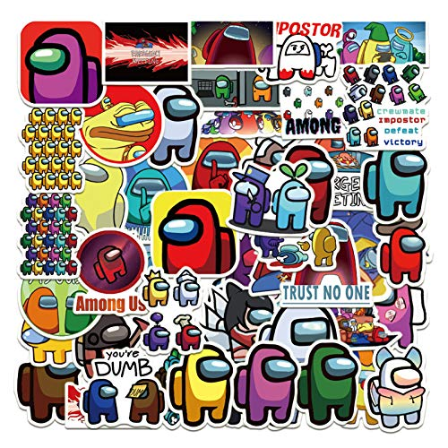 50Pcs Game Among Us Stickers, Among Us Graffiti Waterproof Vinyl Stickers Decals for Laptop Water Bottle Bumper Luggage Computer Skateboard Snowboard