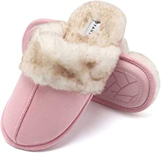 CIOR Fantiny Women's Memory Foam Slippers Faux Fur Lining Slip-on Clog Scuff House Shoes Indoor & Outdoor